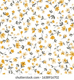 Seamless cute floral vector pattern background.Small colorful flowers. White background.