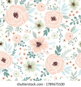 Seamless cute floral wallpaper in Vintage style