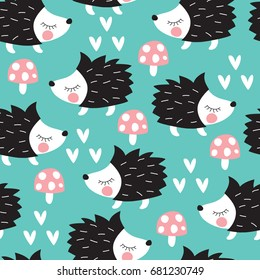 seamless cute hedgehogs with mushrooms pattern vector illustrations