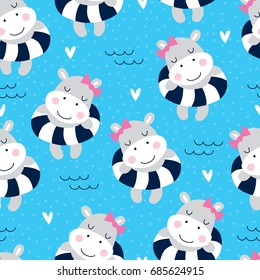 seamless cute hippo girl on the beach pattern vector illustration