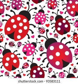 Seamless cute ladybug hearts retro background pattern in vector