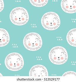 seamless cute lion cartoon pattern vector illustration