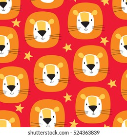 seamless cute lion cartoon pattern vector illustration