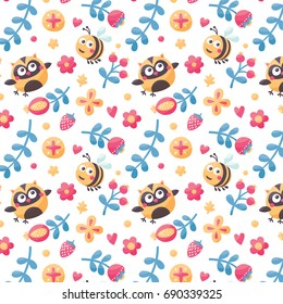 Seamless cute nature animal pattern with bee owl, flowers, plant, leaf, berry, strawberry, wild, vintage, postcard, heart, love, friend