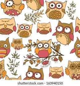 Seamless cute owl pattern