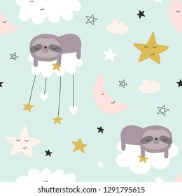 Seamless cute pattern for baby, kids, children. Clouds, moon, stars background. Scandinavian style for fabric, wallpaper, clothes, swaddles, apparel, planner, sticker