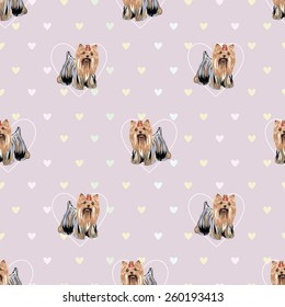 Seamless cute pattern background with yorkshire terrier & colored hearts.