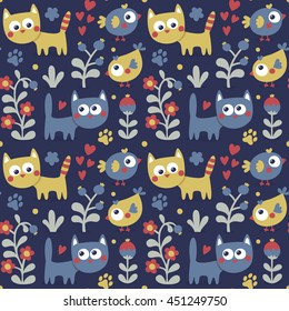Seamless cute pattern with cat, bird, flowers, plants, leaf, berry, animal