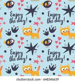 Seamless cute pattern cat, bird, enjoy the day, heart, elements decor, animal