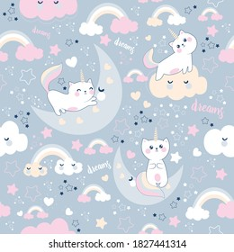 Seamless cute pattern with with cute caticorn and clouds and moon. Sweet dream ,Kawaii style.