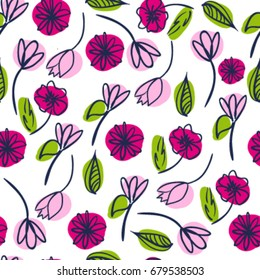 Seamless cute cute pattern with flowers. Pattern for girls, wrapping paper, tektile, fabric, clothing, web, decor.