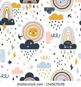 Seamless cute pattern with hand drawn rainbows, rain drops, clouds sun and martlets. Creative scandinavian childish background for fabric, wrapping, textile, wallpaper, apparel. Vector illustration