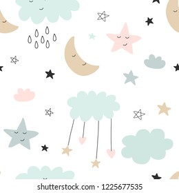 Seamless cute pattern for kids, children. Clouds, moon, stars background. Scandinavian style for fabric, wallpaper, clothes, swaddles, apparel, planner, sticker
