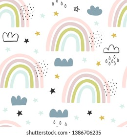 Seamless cute pattern for kids, children. Rainbow, clouds, moon, stars background. Scandinavian style for fabric, wallpaper, clothes, swaddles, apparel, planner, sticker