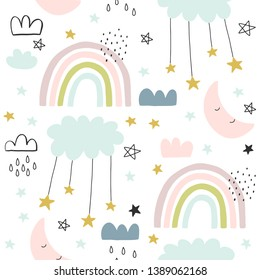 Seamless cute pattern for kids, children. Rainbow, clouds, moon, and stars background. Scandinavian style for fabric, wallpaper, clothes, swaddles, apparel, planner, sticker