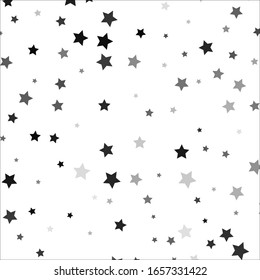 Seamless cute pattern with little different black stars, dots and circles on white background. Vector illustration. Magic fireworks. Bright Stardust background. Constellation.