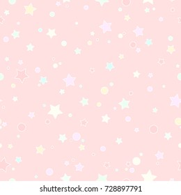 Seamless cute pattern with little rounded stars and circles of different  colors with outline. Powder pink background. Vector illustration. Magic fireworks. Bright Stardust background. Constellation.