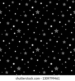 Seamless cute pattern with little white stars, dots and circles on black background. Vector illustration. Magic fireworks. Bright Stardust background. Constellation.
