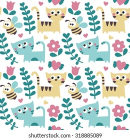 Seamless cute pattern made with bee, cats, flowers, plants and heart for kids and babies, Valentine's day, lovers, couple