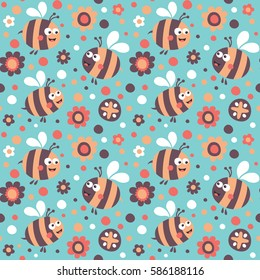 Seamless cute pattern made with bee and flower, circles for kids
