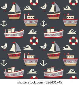 Seamless cute pattern made with boats, ships, wave, water, lifeline, seagull, sea and anchor