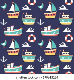 Seamless cute pattern made with boats, ships, water, lifeline, yacht, seagull, sea and anchor