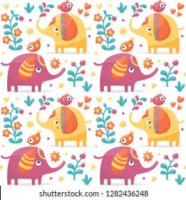 Seamless cute pattern made with elephants, birds, plants, jungle
