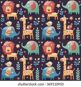 Seamless cute pattern made with elephants, lion,giraffe, birds, plants, jungle, flowers, hearts, leafs, stone, berry for kids