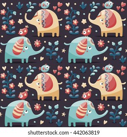 Seamless cute pattern made with elephants, birds, plants, jungle, flowers, hearts, berry