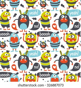 Seamless cute pattern made with monsters, bubbles and words yeah, no, boo