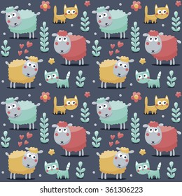 Seamless cute pattern made with sheep, cats, flowers, animals, plants, hearts for kids
