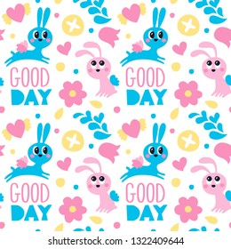 Seamless cute pattern maked with rabbit with wings, flowers, hearts and good day