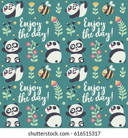 Seamless cute pattern with Panda and bee, plants, jungle, berry, flowers, enjoy the day, postcard