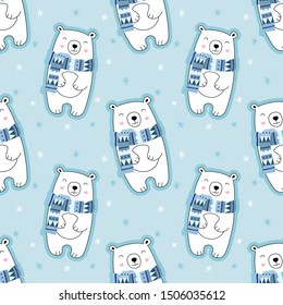 Seamless cute pattern, polar bear, snow, snowflakes, bear in a scarf, winter. Vector illustration for children.
