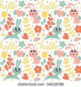Seamless cute pattern with rabbit with wings, flowers, hearts and hello, cartoon, textile, valentine's day, hare