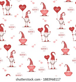Seamless cute pattern with scandinavian gnomes. Happy Valentines day. Vector illustration in flat cartoon style. Nordic design for postcard, print, textile, wrapping paper, poster, wallpaper.
