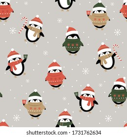 Seamless cute penguin on silver background, Christmas ornament pattern, Vector illustration