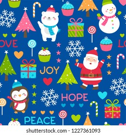 Seamless of cute polar bear, snowman, penguin, santa claus and decorative elements for christmas and new year background