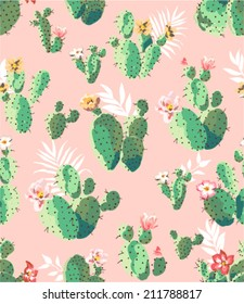 seamless cute prickly pear cactus print pattern background