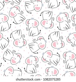 seamless cute princess elephant pattern vector illustration