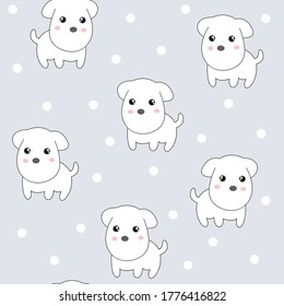 seamless cute puppy animal pattern vector illustration