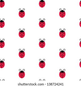 Seamless cute red and black ladybugs on white background