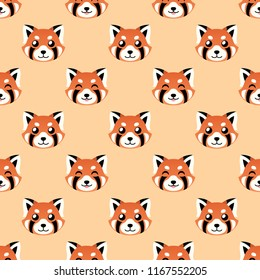 seamless cute red panda face vector pattern background. cute animal pattern