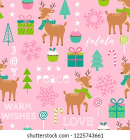 Seamless of cute reindeer and decorative elements for christmas and new year background