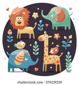 Seamless cute set made with elephants, lion,giraffe, birds, plants, jungle, flowers, hearts, leafs, stone, berry for kids