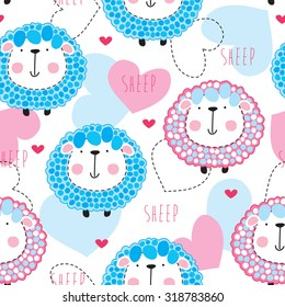 seamless cute sheep pattern vector illustration