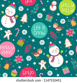 Seamless of cute snowman, bird and decorative elements for christmas and new year background