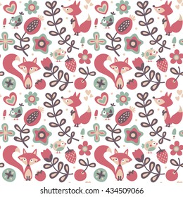 Seamless cute spring floral pattern made with flowers, fox, birds, plants, strawberry, cherry, berries, leaves, nature, summer