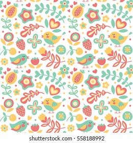 Seamless cute spring floral pattern made with flowers, birds, plants, strawberry, cherry, berries, leaves, nature summer wild