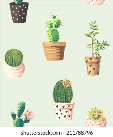 seamless cute succulents print pattern background